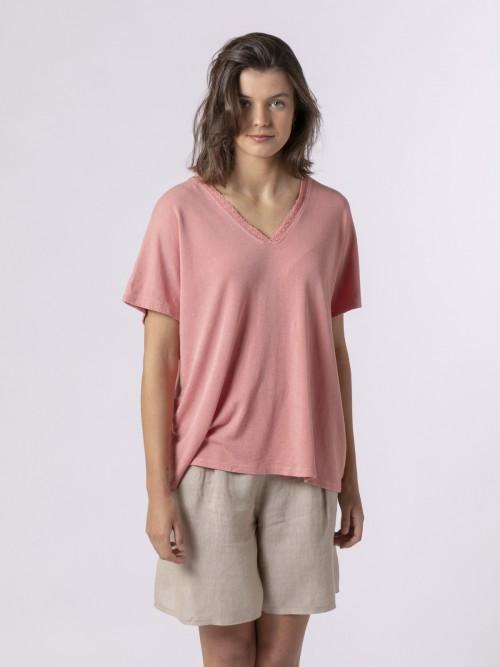 Woman Woman Lace T-shirt Salmón
