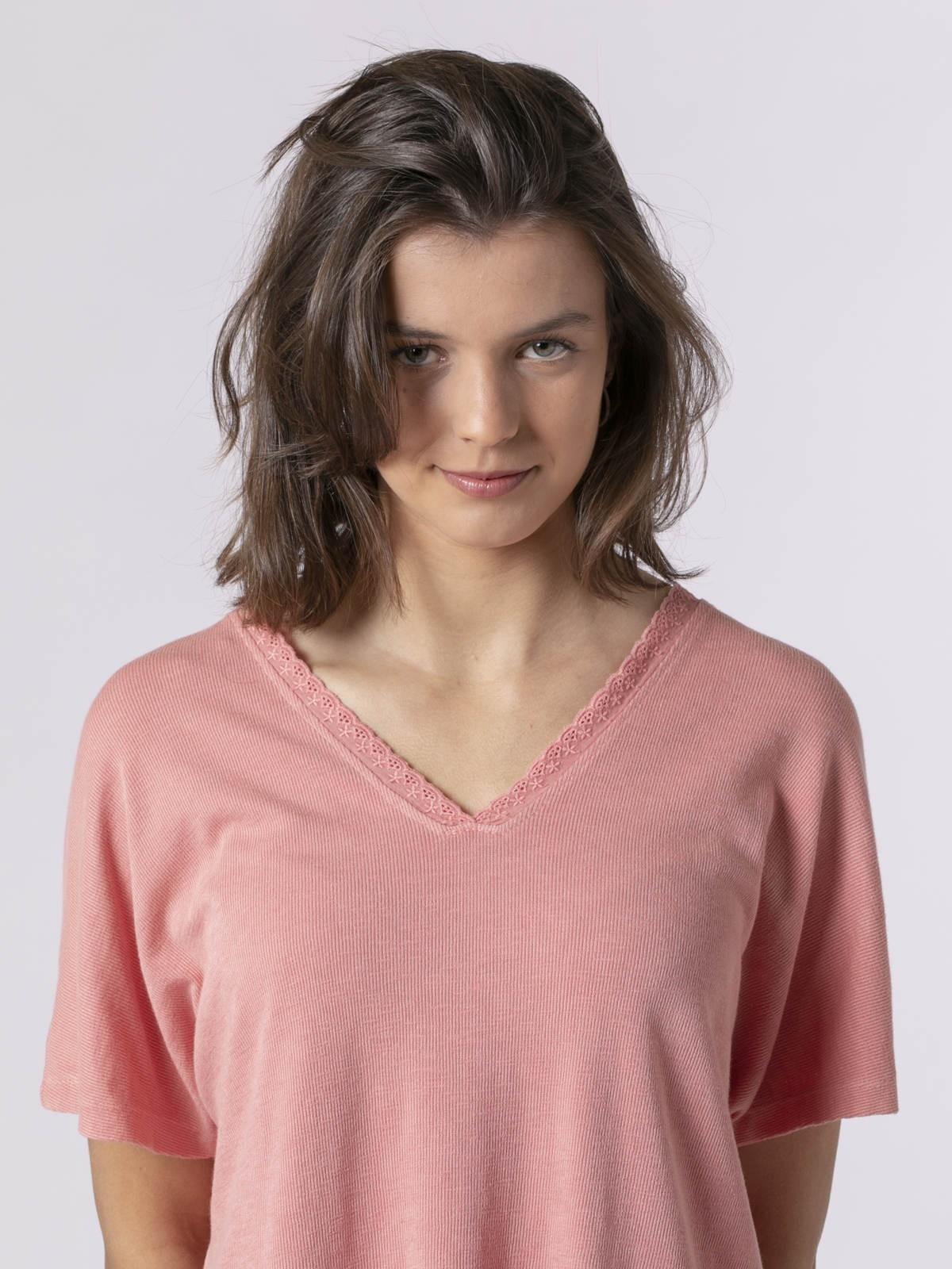 Camiseta mujer puntilla Salmón