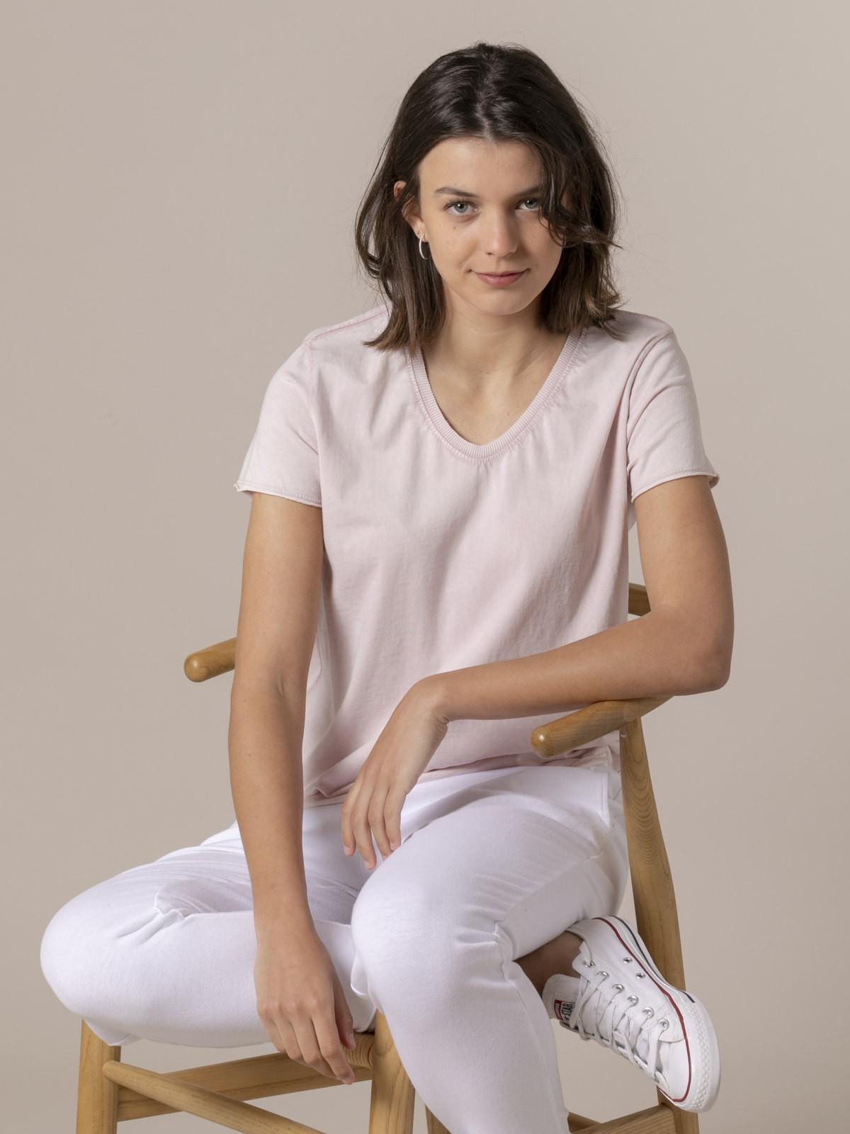 Camiseta mujer lisa tinte eco Rosa