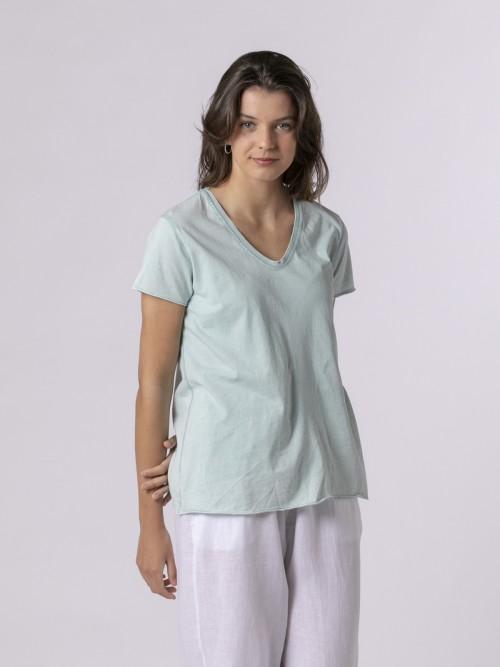 Woman Woman Plain tint eco t-shirt Aqua