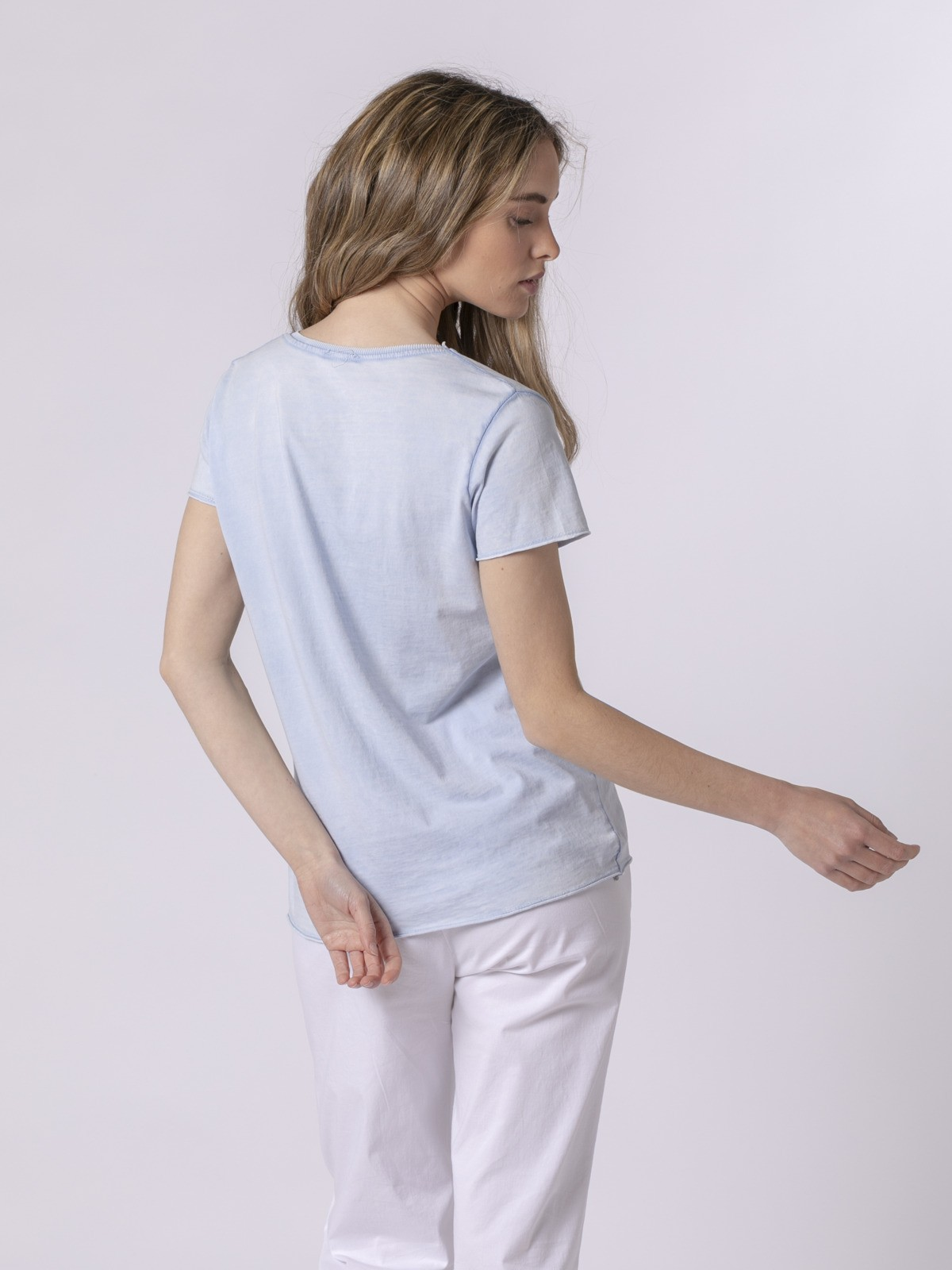 Camiseta mujer lisa tinte eco Azul