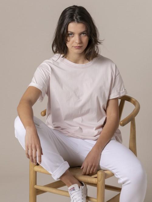 Camiseta lisa mujer tinte ecológico Rosa