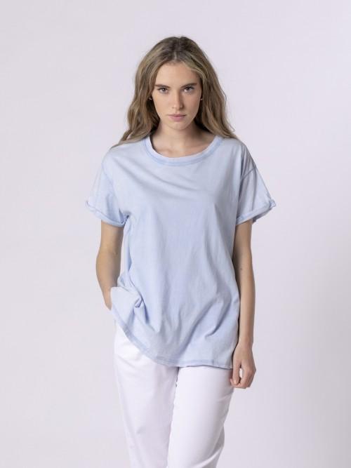 Camiseta lisa mujer tinte ecológico Azul