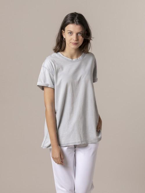 Woman Organic tinted plain T-shirt Grey