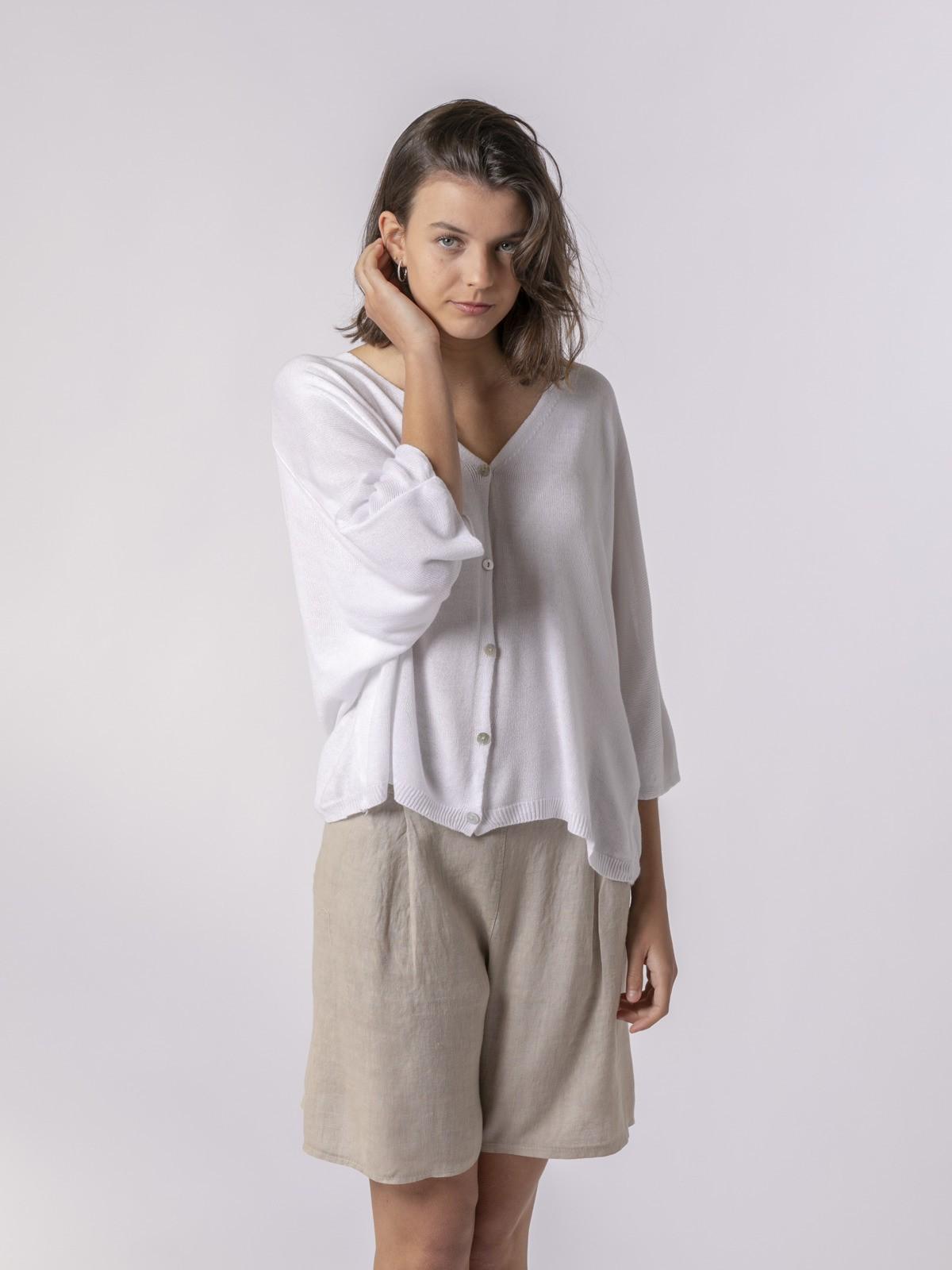 Woman Woman Short sleeve modal jacket White