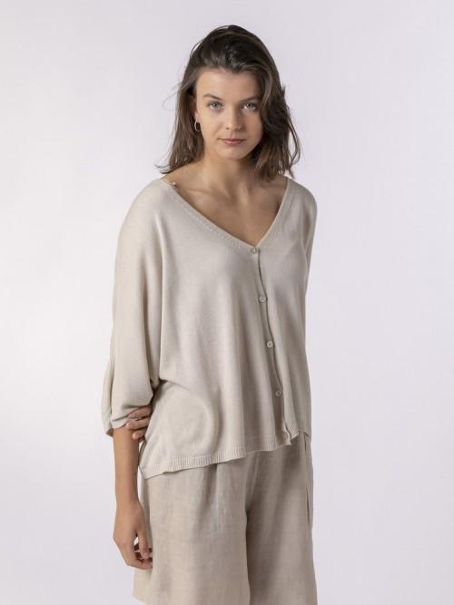 Woman Woman Short sleeve modal jacket Beige