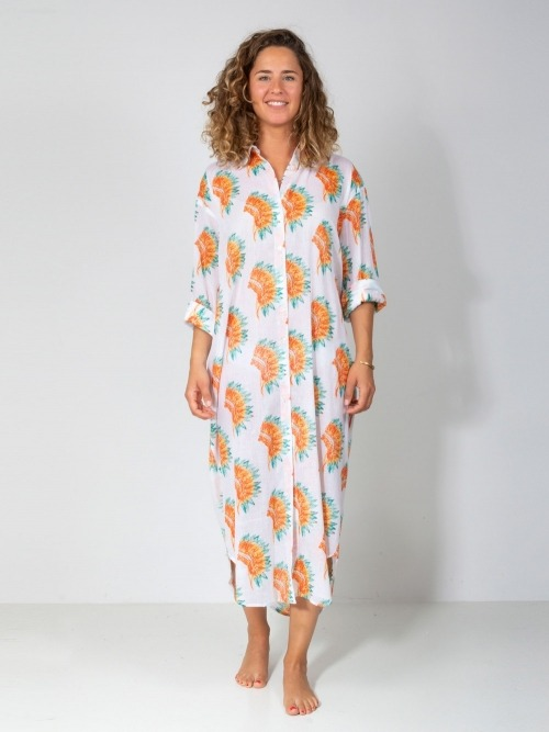 Women printed dress with buttons