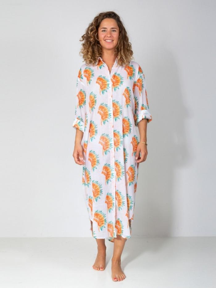 Vestido largo camisero estampado botones mujer