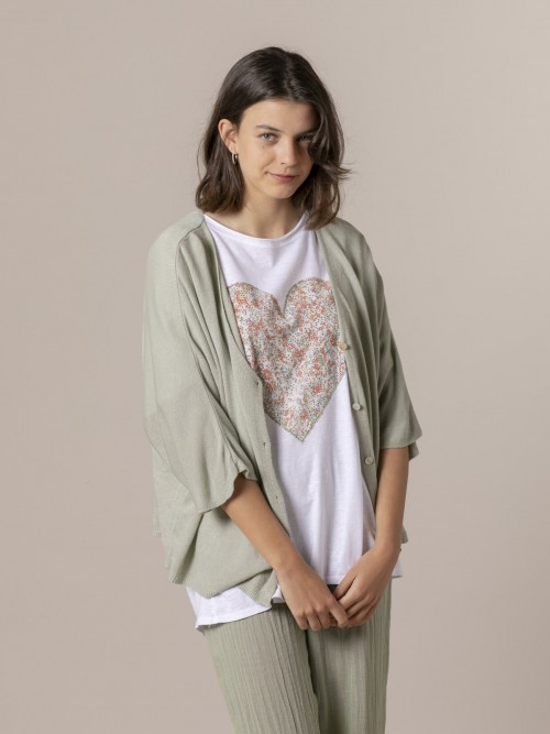 Woman Woman Short sleeve modal jacket Green