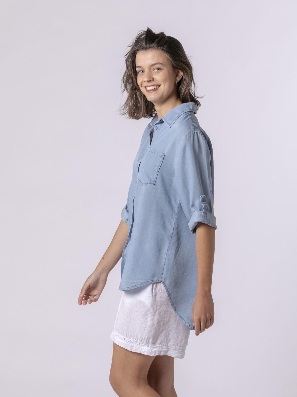 Woman Woman Tencel shirt Blue