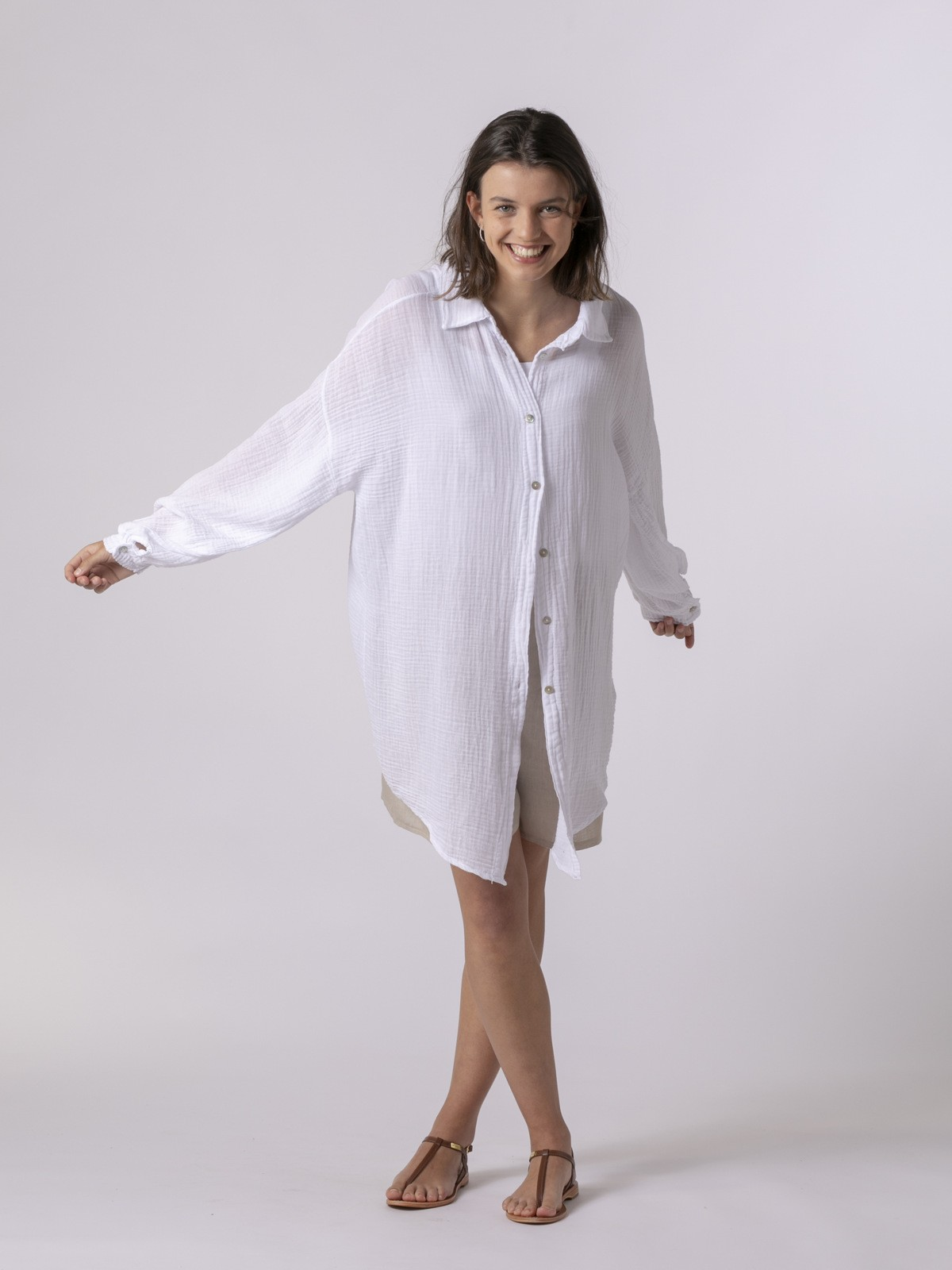 Camisa mujer con botones Blanco
