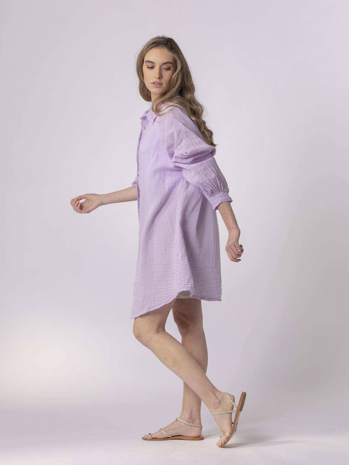 Camisa mujer con botones Lila