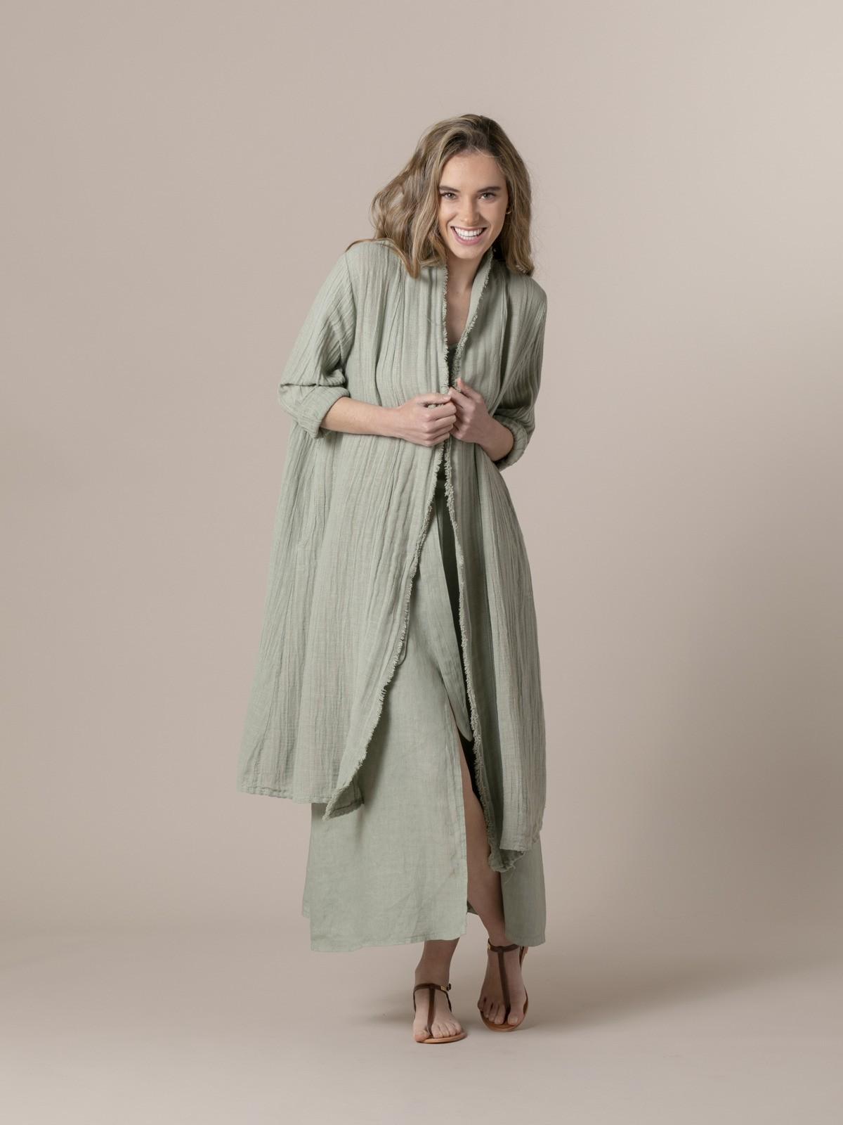 Chaqueta mujer de lino oversize Verde