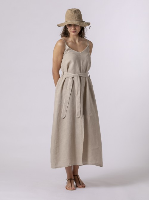 Woman Linen strappy dress with belt Beige