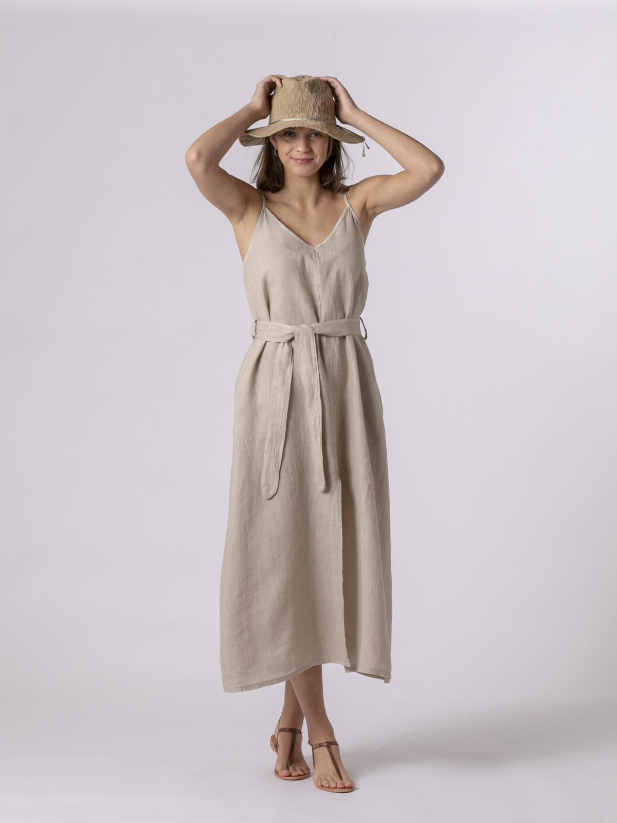 Woman Linen strappy dress with belt Beige