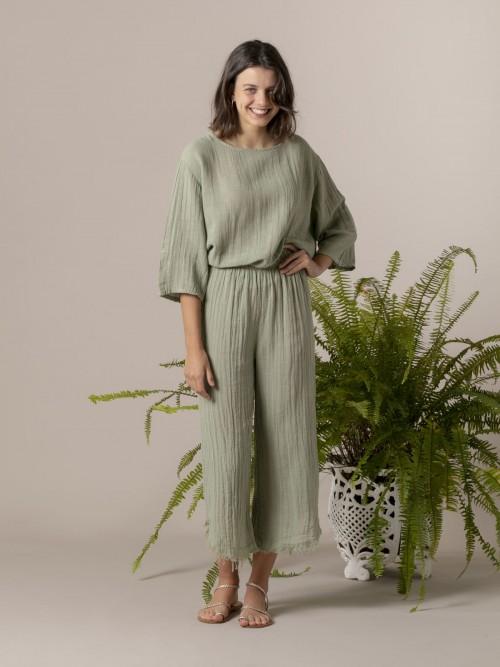 Woman Woman Linen pants Green