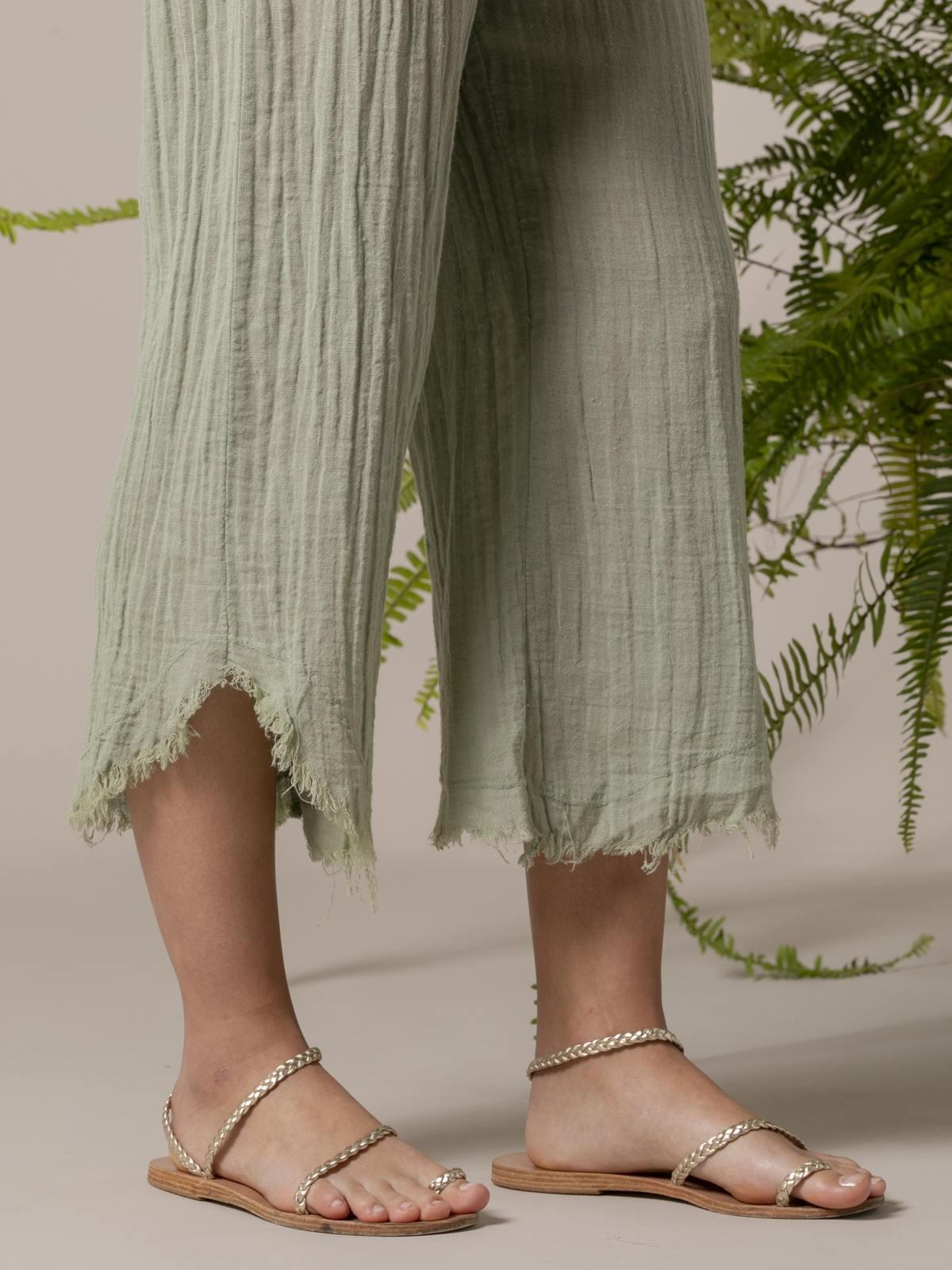 Pantalón mujer de lino Verde