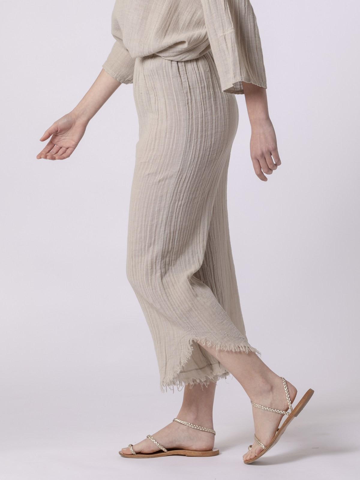Pantalón mujer de lino Beige