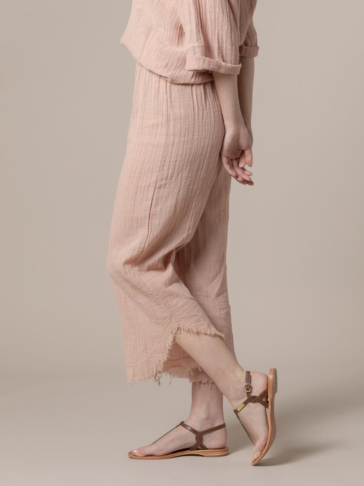 Pantalón mujer de lino arena