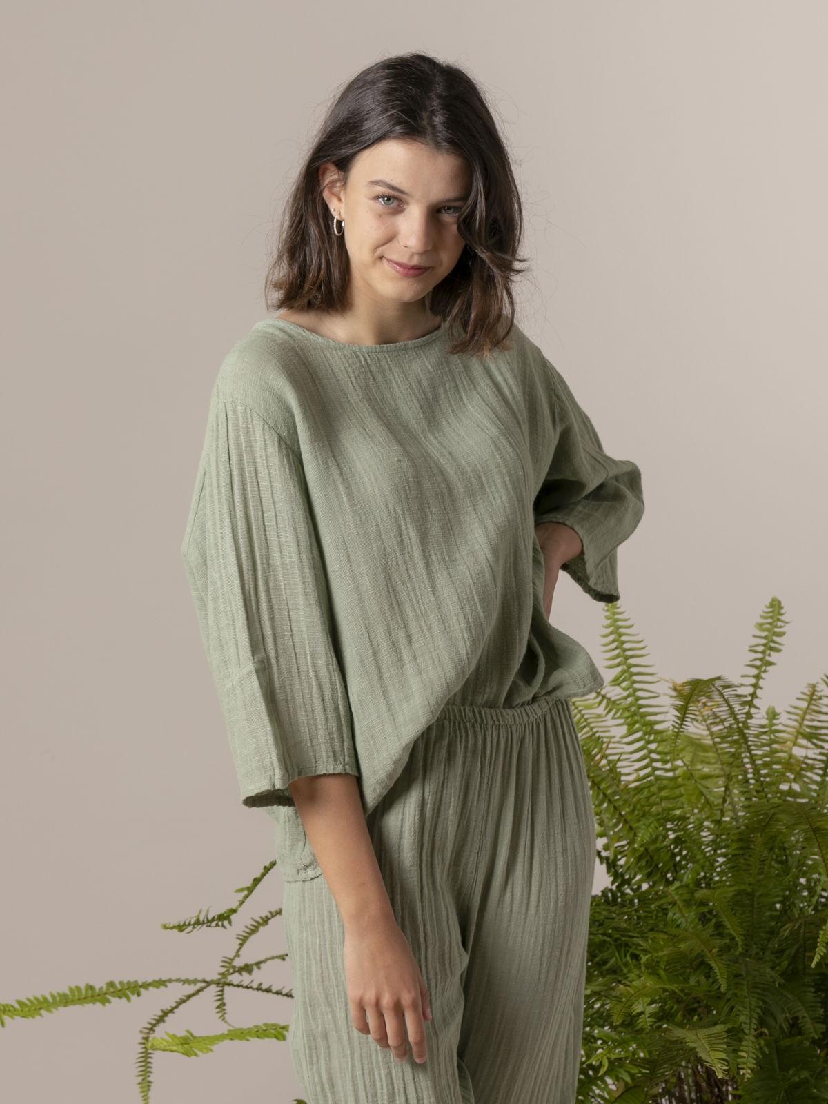 Blusa lino mujer cuello redondo Verde