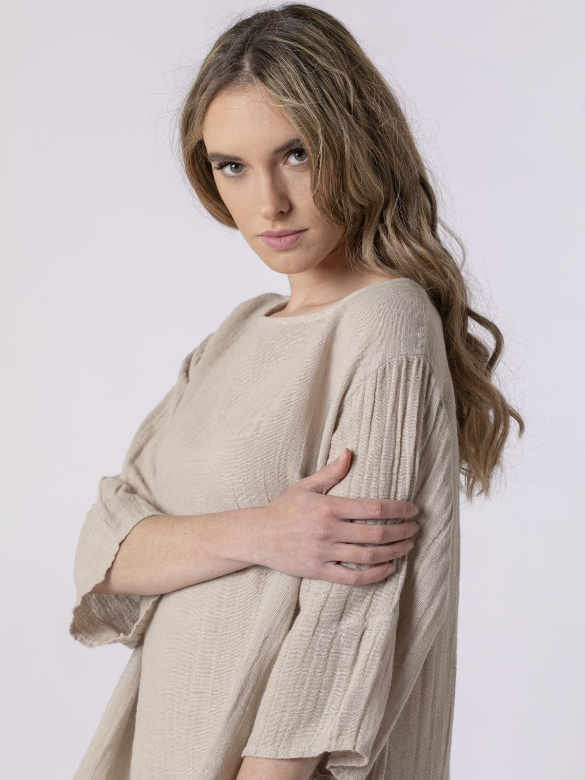 Blusa lino mujer cuello redondo Beige