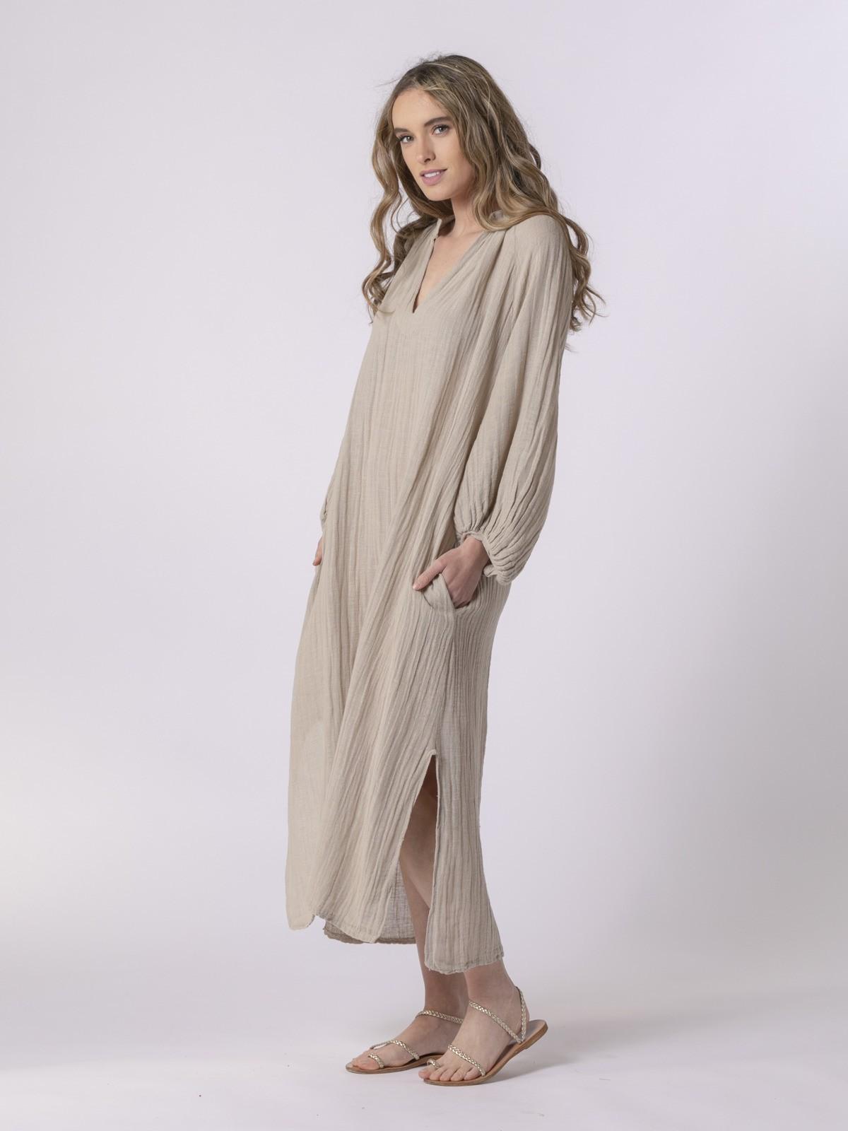 Woman Comfort oversize dress Beige
