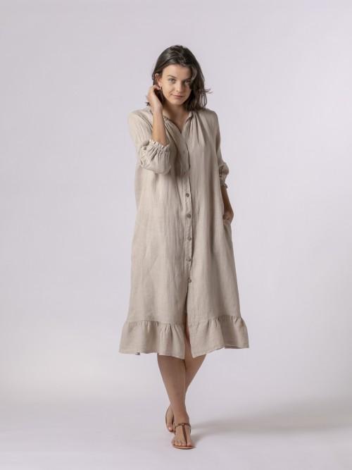 Vestido largo de lino con botones Beige