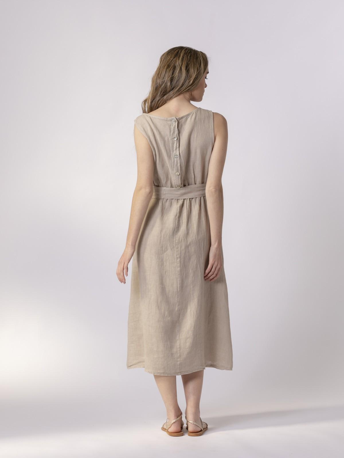 Vestido lino largo botones espalda Beige