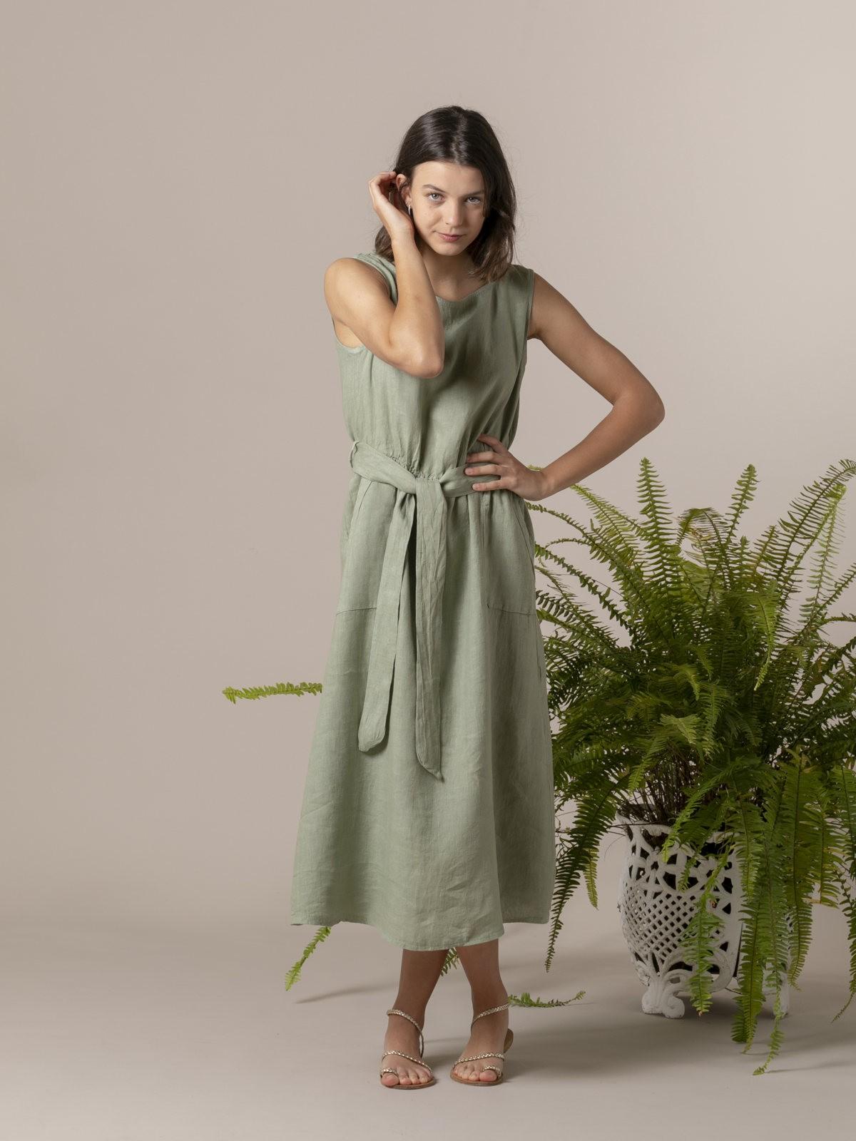 Vestido lino largo botones espalda Verde
