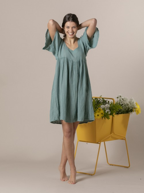 Woman Short linen dress Green