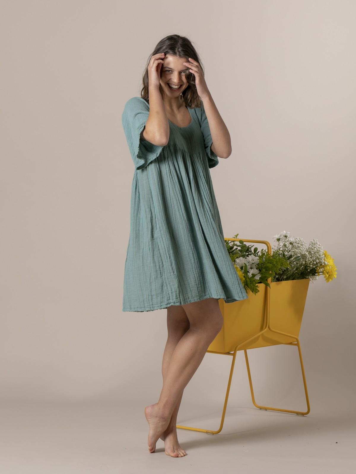 Woman Short linen dress Green