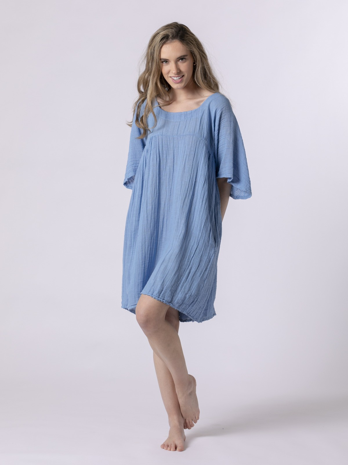 Vestido de lino corto Azul