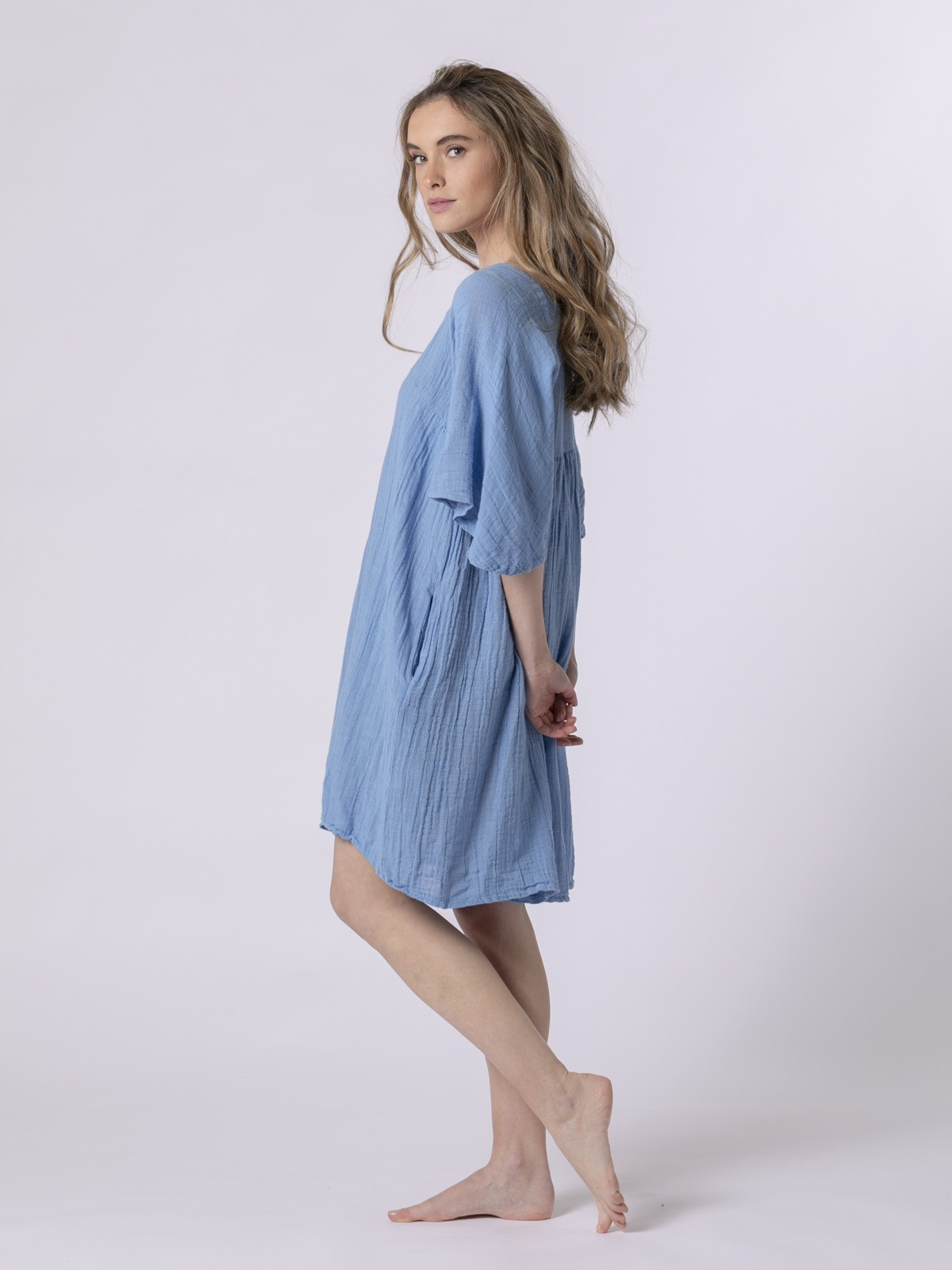 Woman Short linen dress Blue