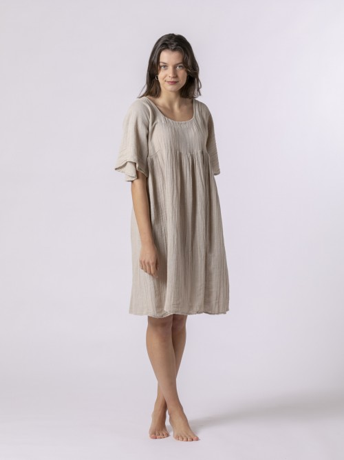 Woman Short linen dress Beige