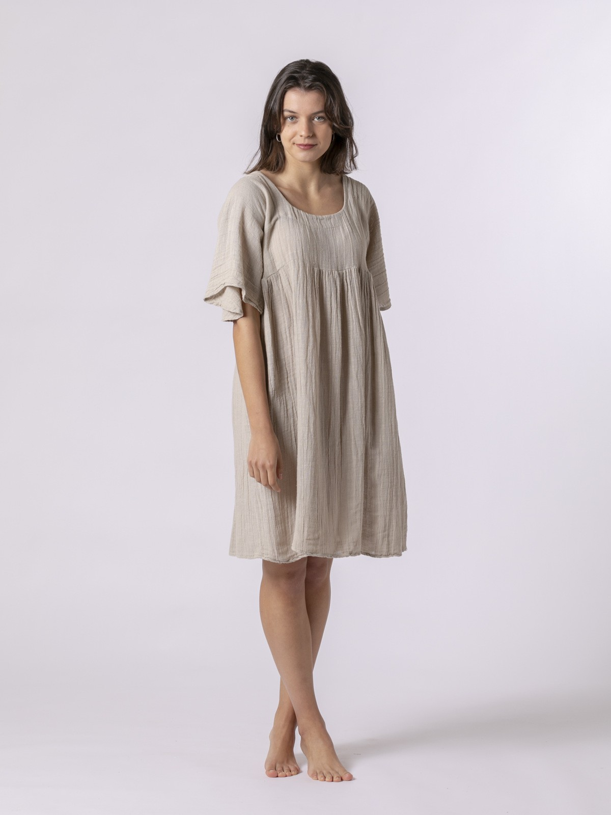 Vestido de lino corto Beige