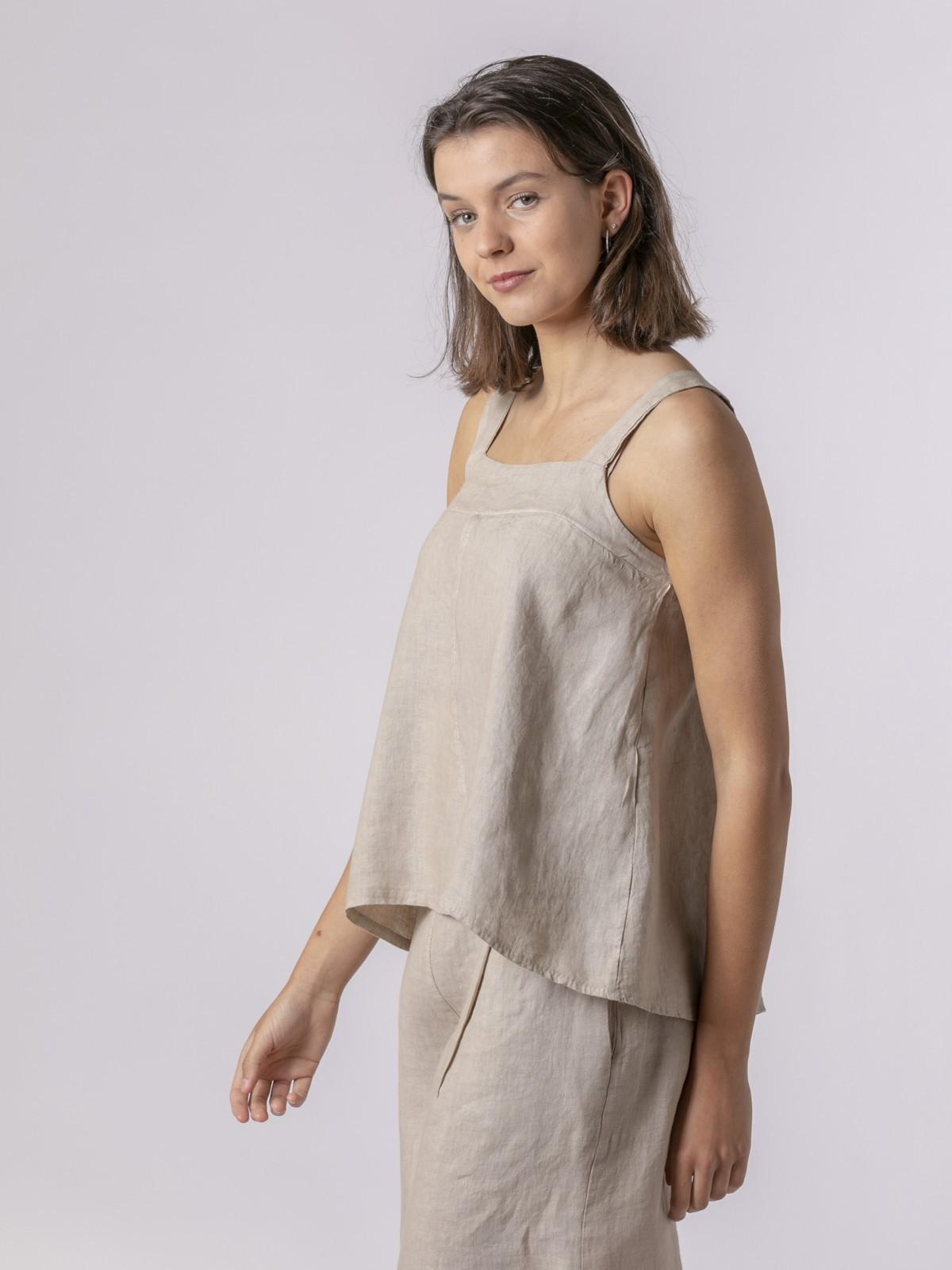 Top de lino mujer detalle espalda Beige