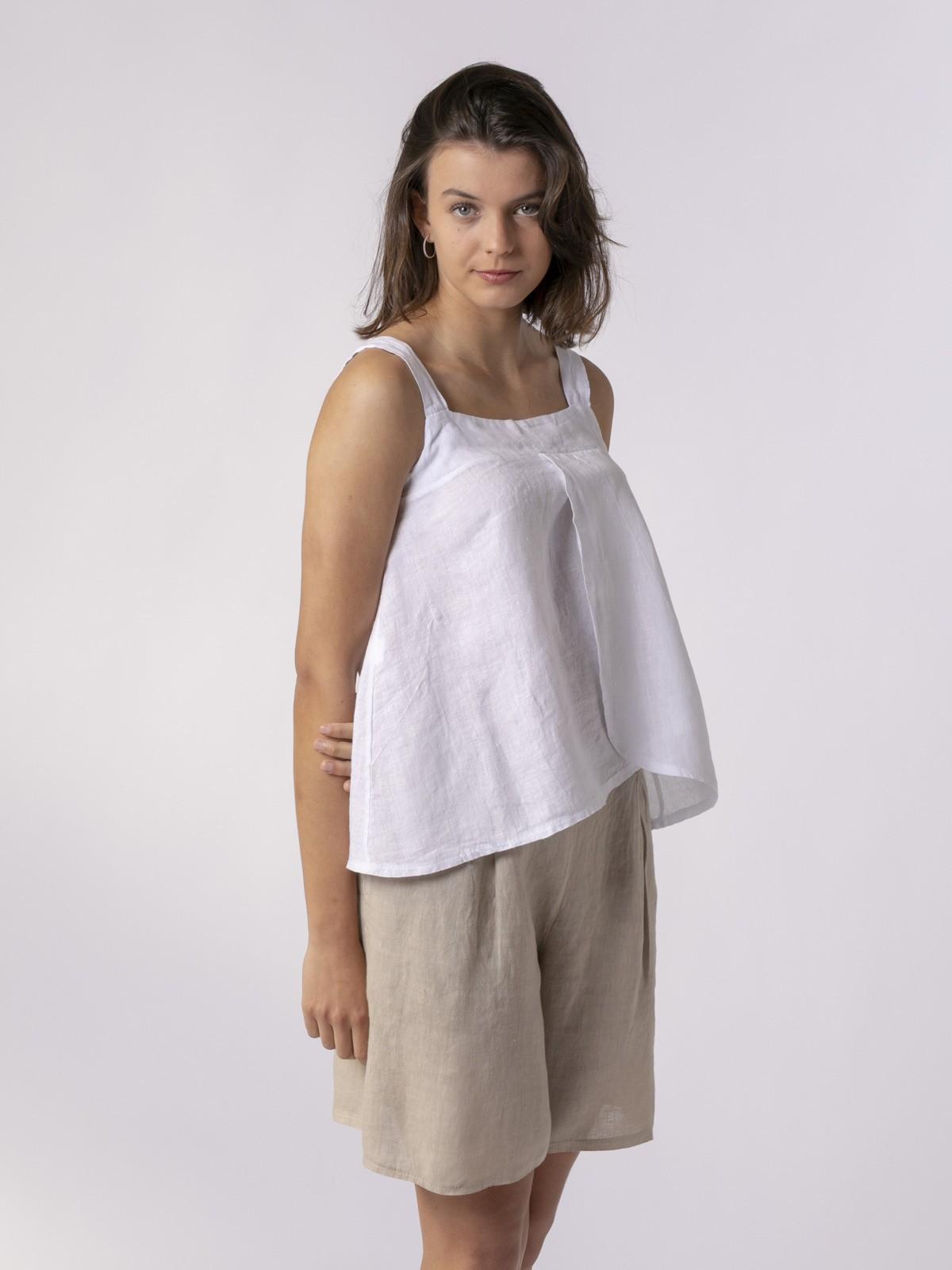 Top de lino mujer detalle espalda Blanco