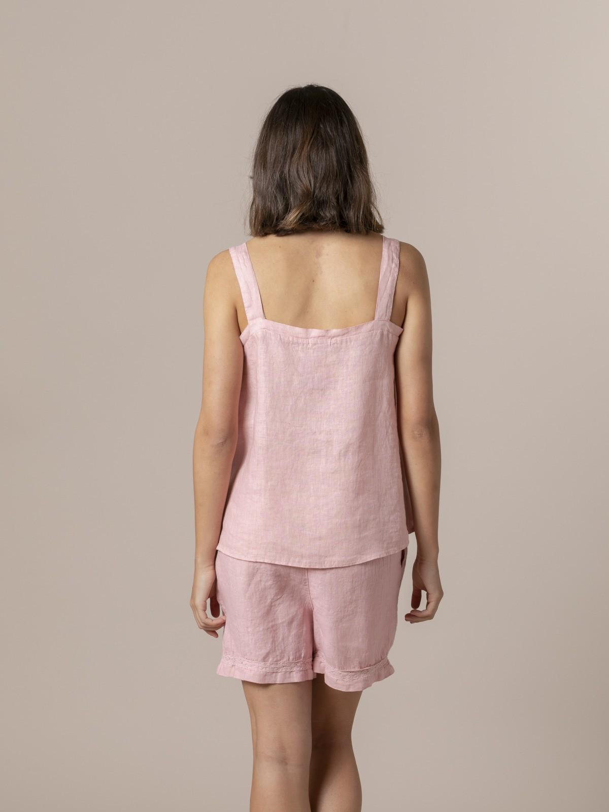 Top de lino mujer detalle espalda Rosa