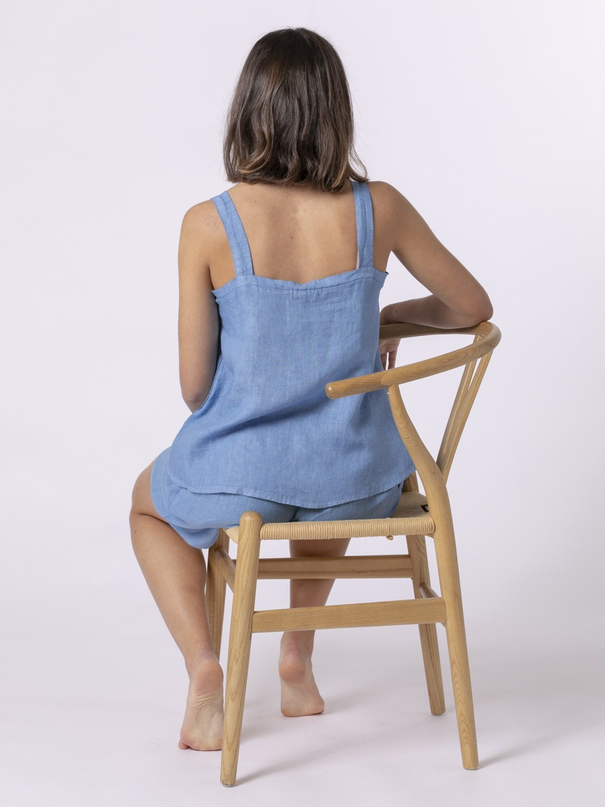 Woman Woman Linen top with back detail Blue