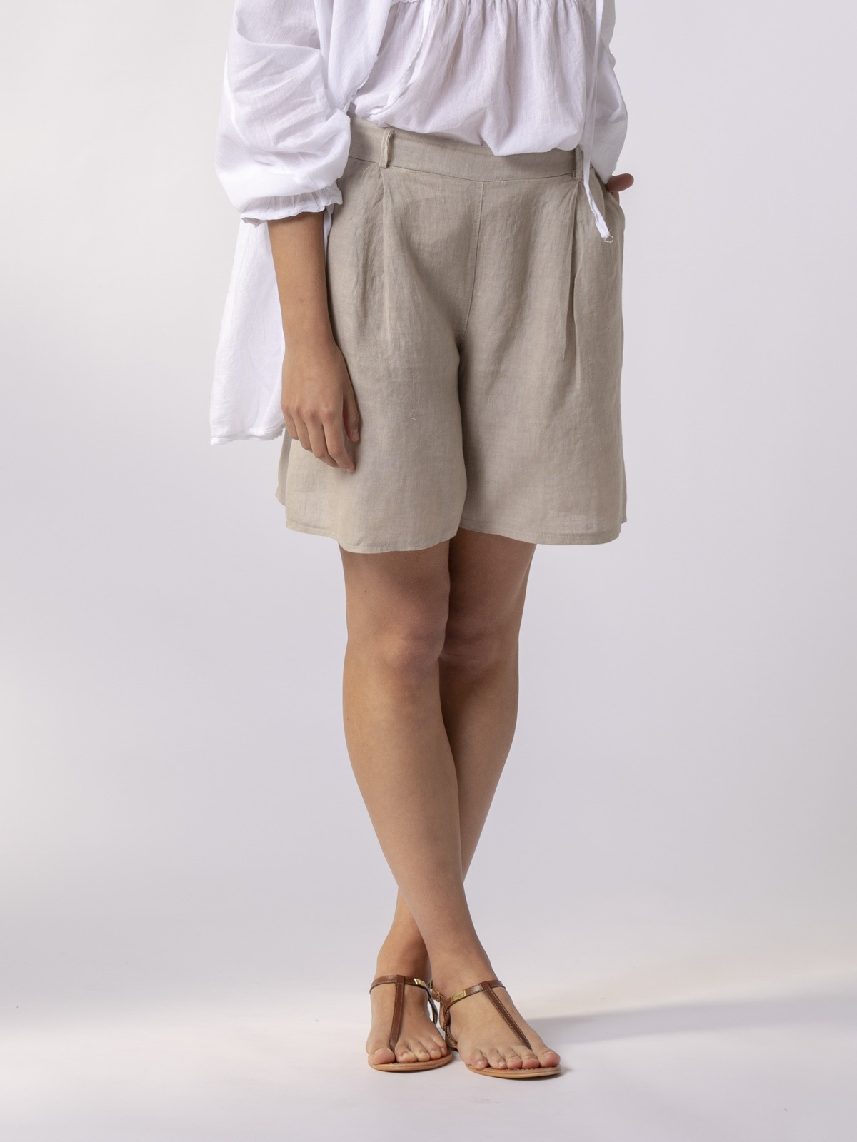 Woman Classic linen bermuda Beige