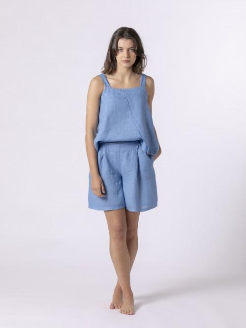 Woman Classic linen bermuda Blue