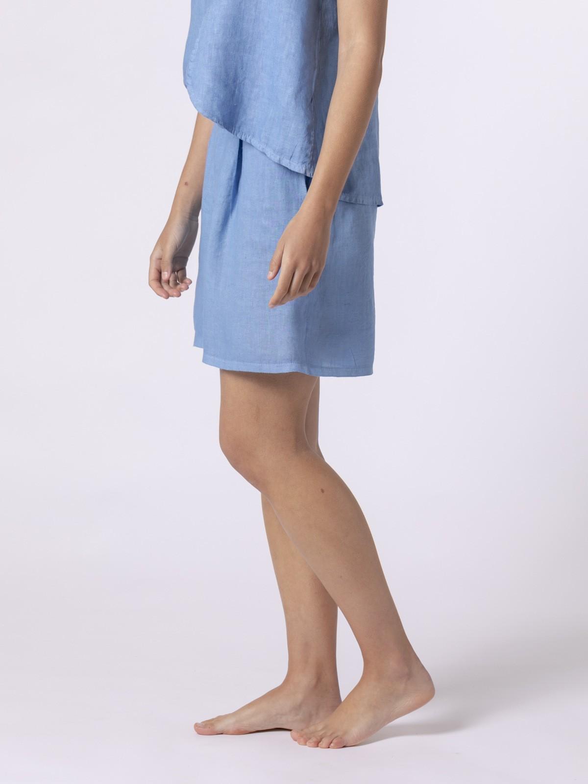 Bermuda de lino mujer clásica Azul