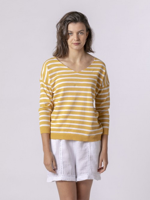 Woman Woman Striped fine knit sweater Mostaza