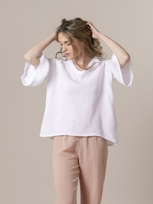 Camisa mujer arrugada simétrica Blanco