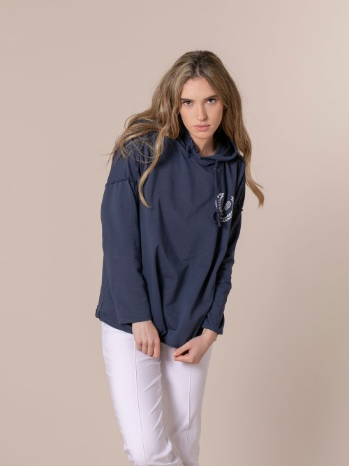 Woman Woman Retro rackets oversize sweatshirt Blue Navy