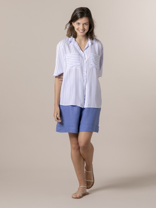 Woman Woman Striped blouse and pockets Blue