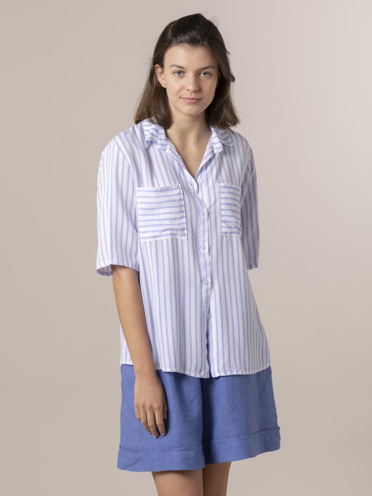 Blusa mujer rayas y bolsillos Azul