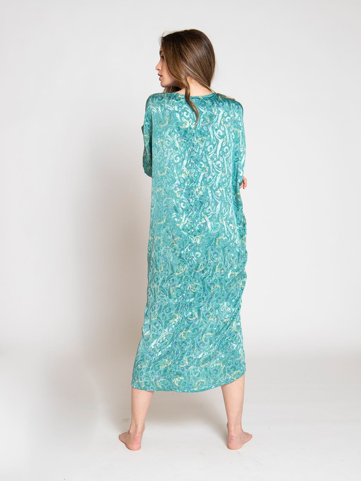 Woman Woman Printed midi dress Turquoises