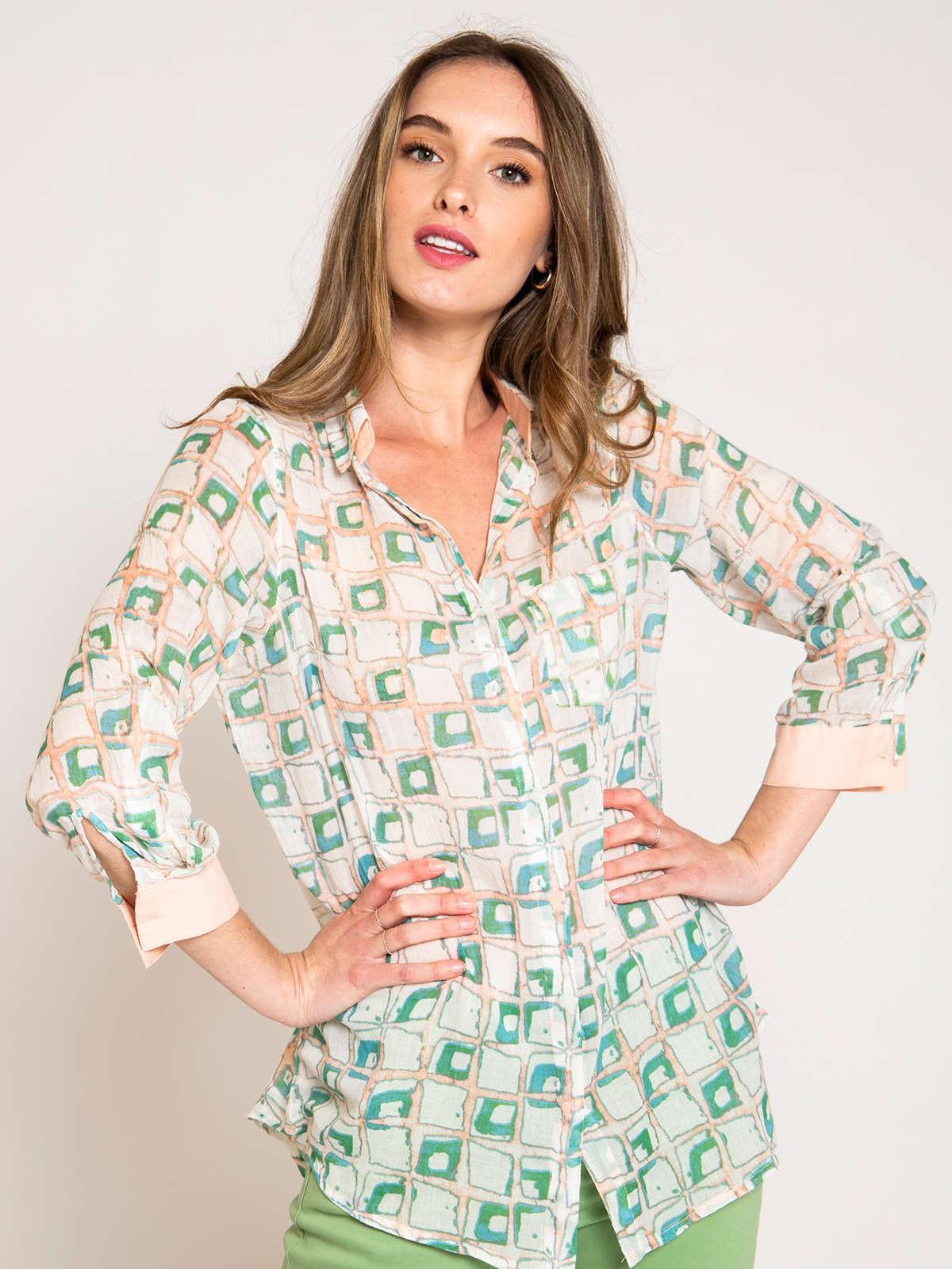 Woman Woman Printed pocket shirt Pink