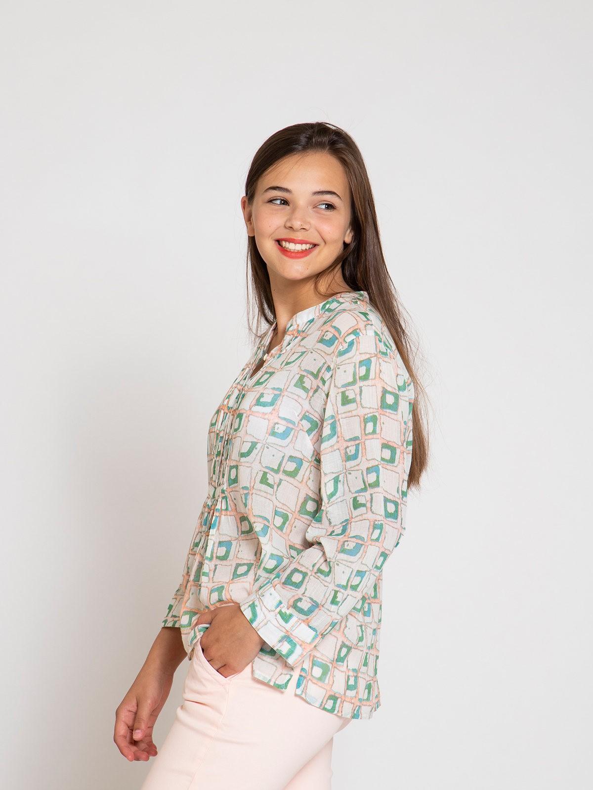 Blusa plisada algodón mujer Rosa